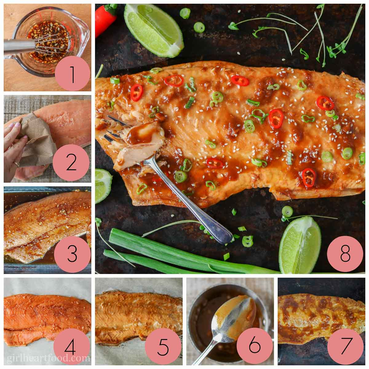 Collage of steps to make baked arctic char with marinade.
