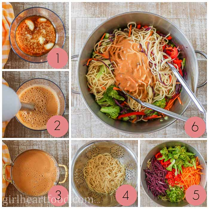 Collage of steps to make peanut noodles with vegetables.