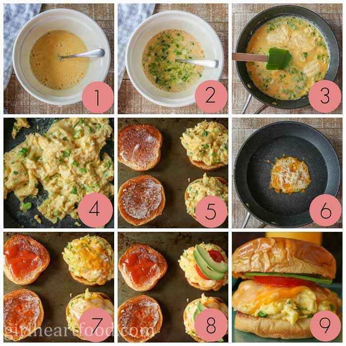 Collage of how to make a breakfast sandwich with egg, cheese, tomato and avocado.