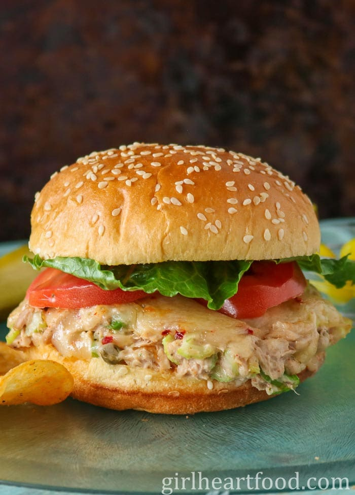 Tuna melt sandwich with tomato and lettuce..