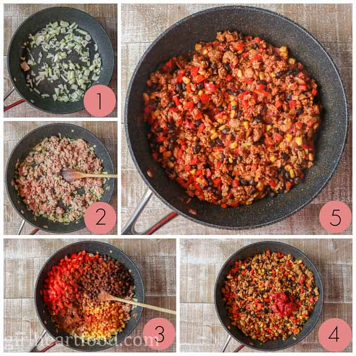 Collage of making a ground turkey, bean and vegetable filling for quesadillas.