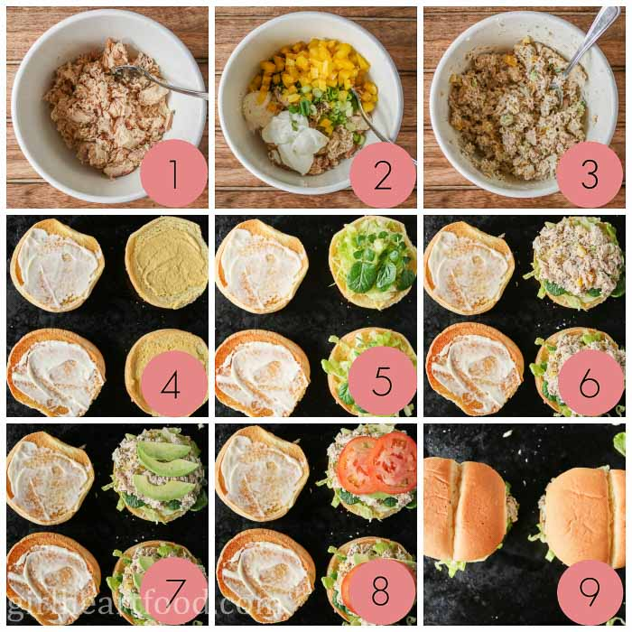 Collage of steps to make a canned salmon salad sandwich with veggies on a hamburger bun.