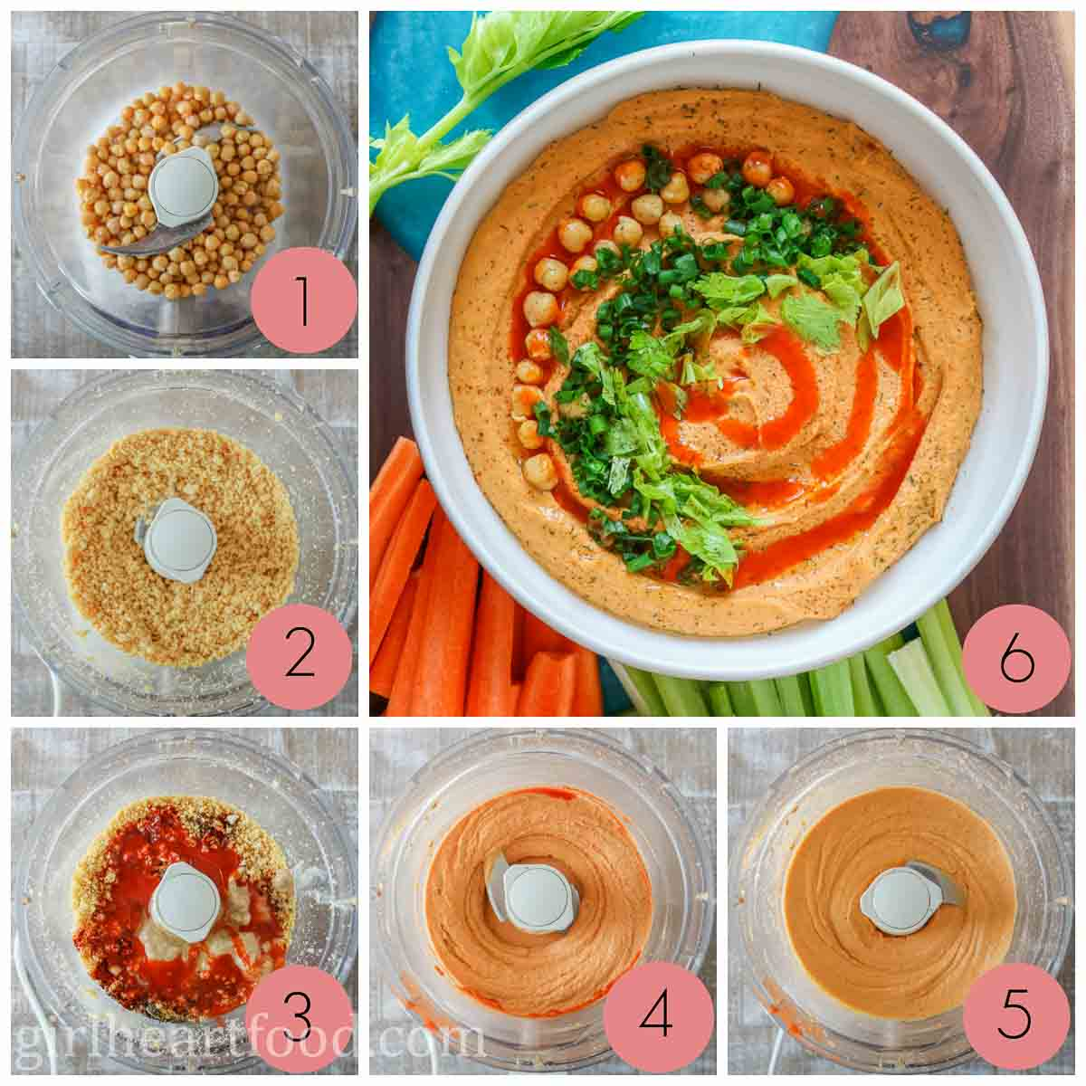 Collage of how to make flavoured hummus with hot sauce.