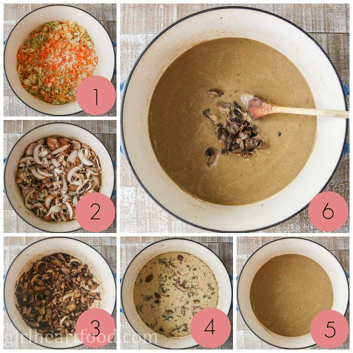 Collage of steps to make fresh mushroom soup.