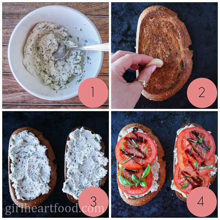 Collage of steps to make ricotta toast with tomatoes, garlic, basil and balsamic.