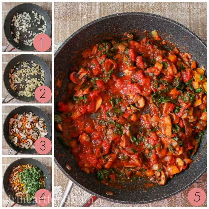 Collage of how to make a veggie and tomato sauce filling.