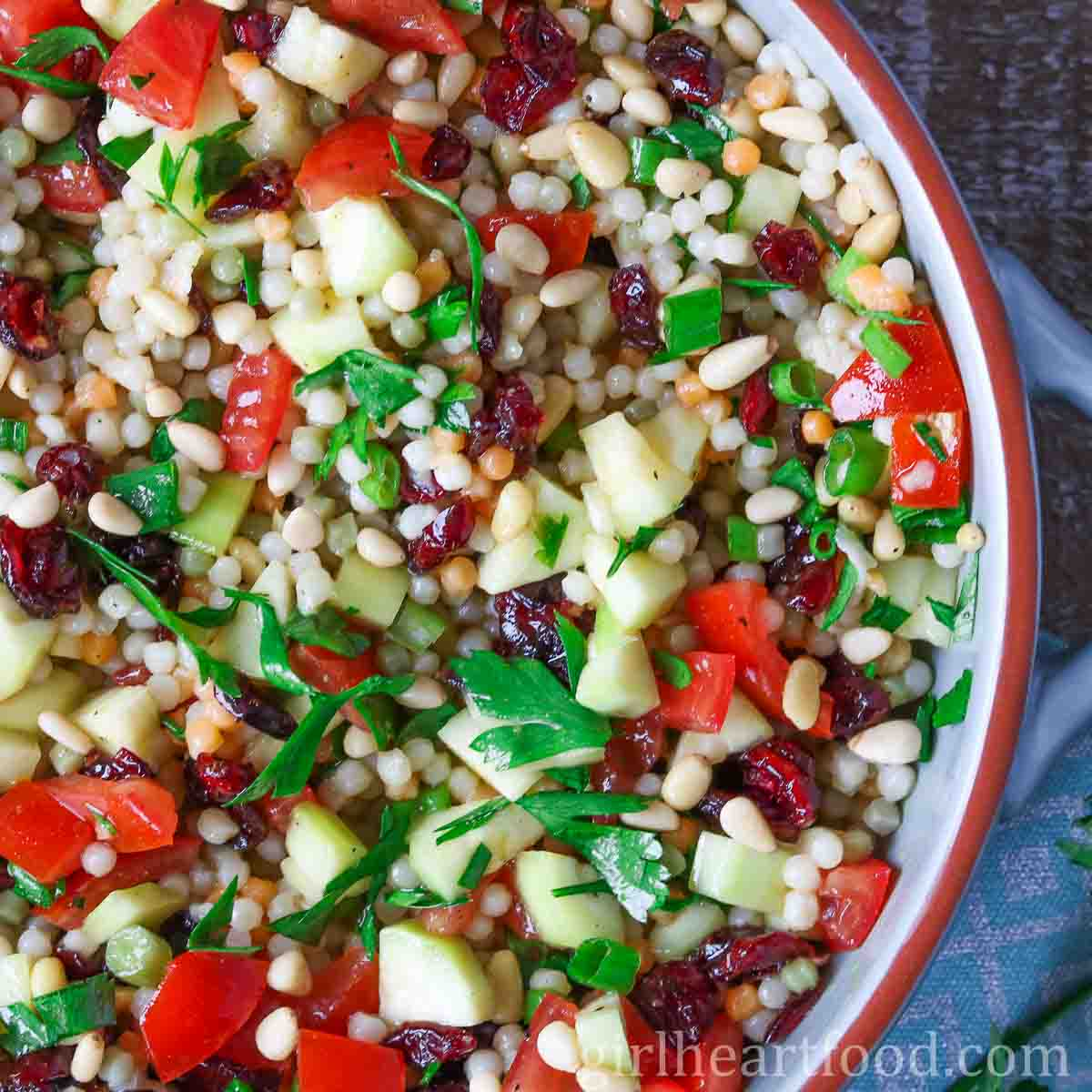 Pearl Couscous Salad With Lemon Turmeric Vinaigrette Girl Heart Food