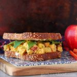 Curry chicken salad sandwich with apple.