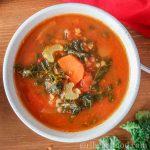 Overhead shot of a bowl of tomato based lentil kale soup.