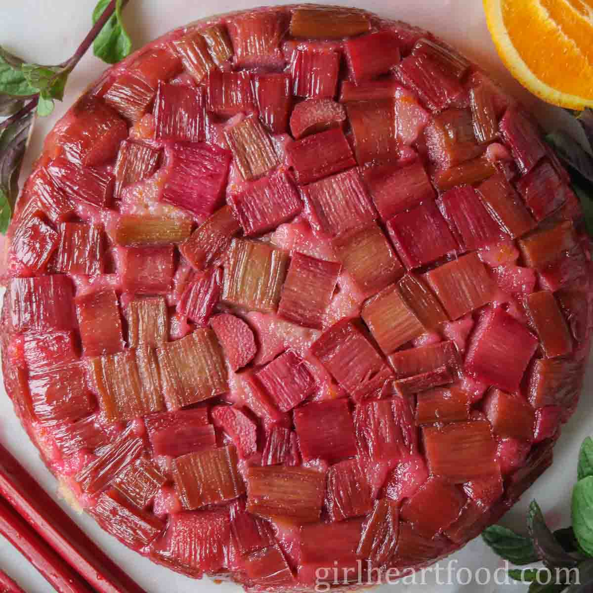 Rhubarb Upside Down Cake With Orange Girl Heart Food