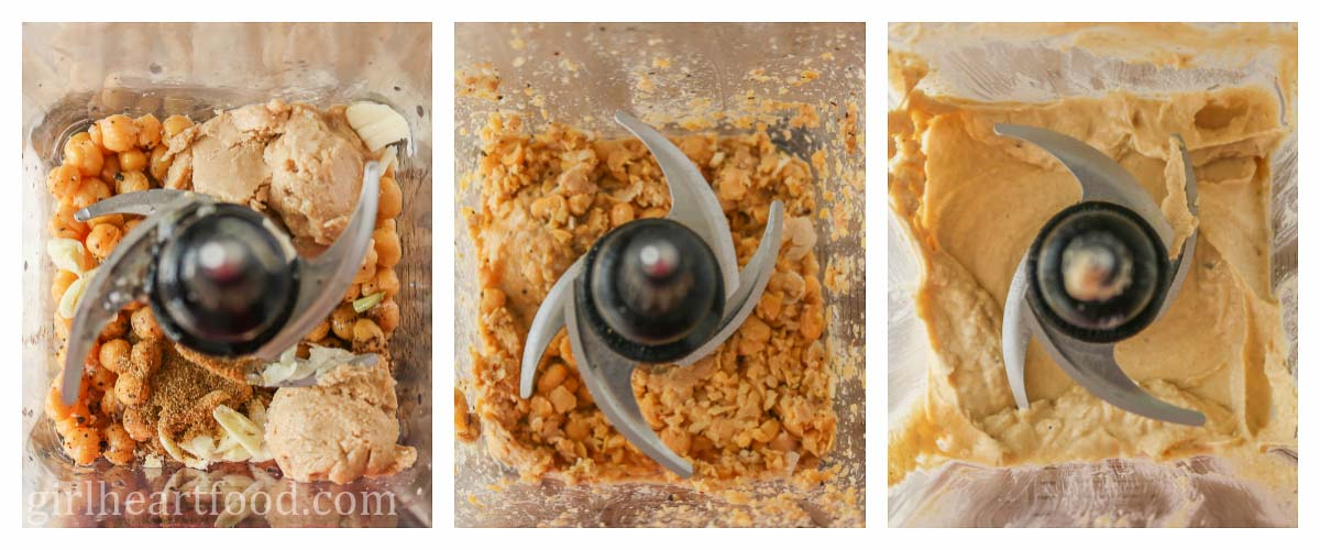 Collage of steps to make hummus in a blender.