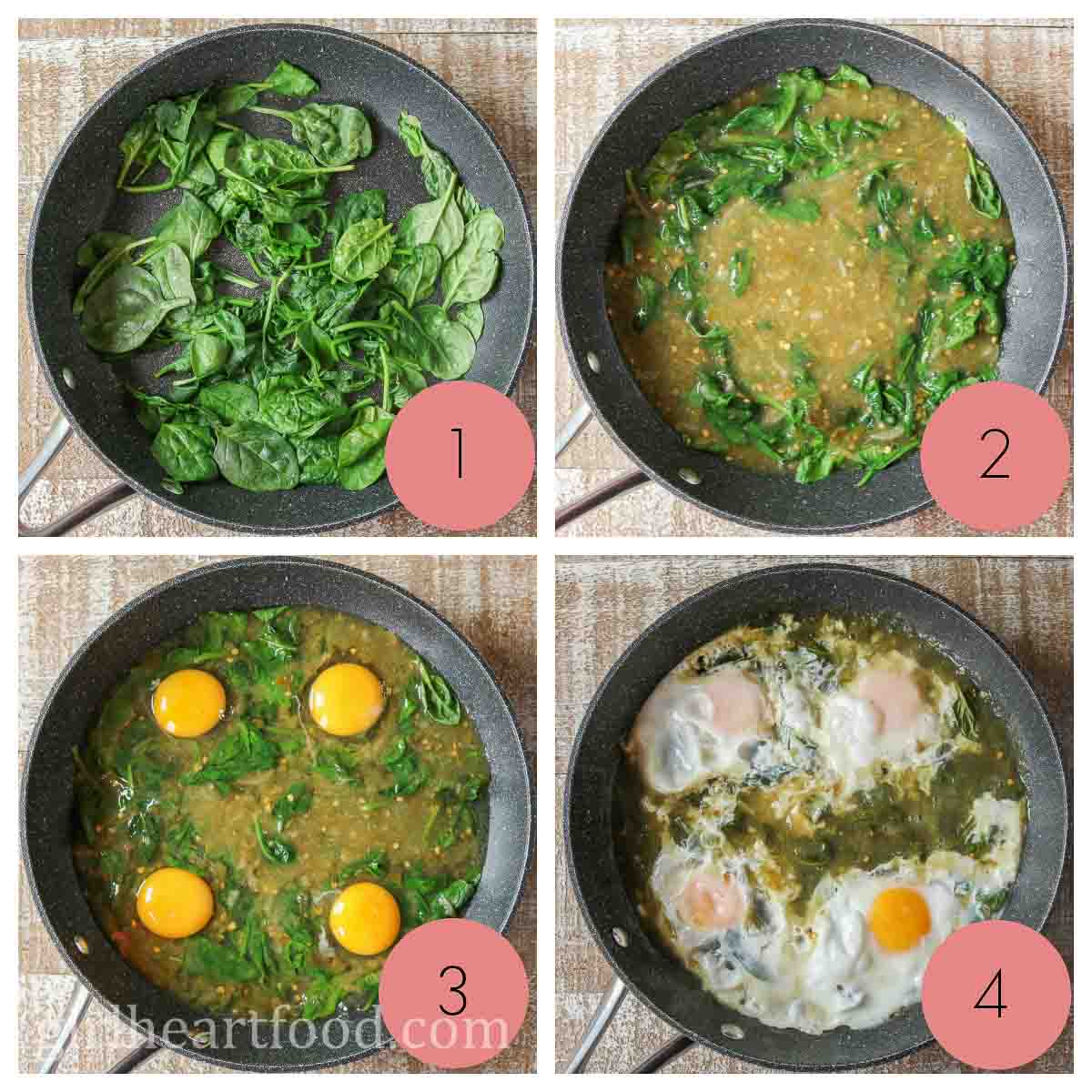 Collage of how to cook eggs in salsa verde.