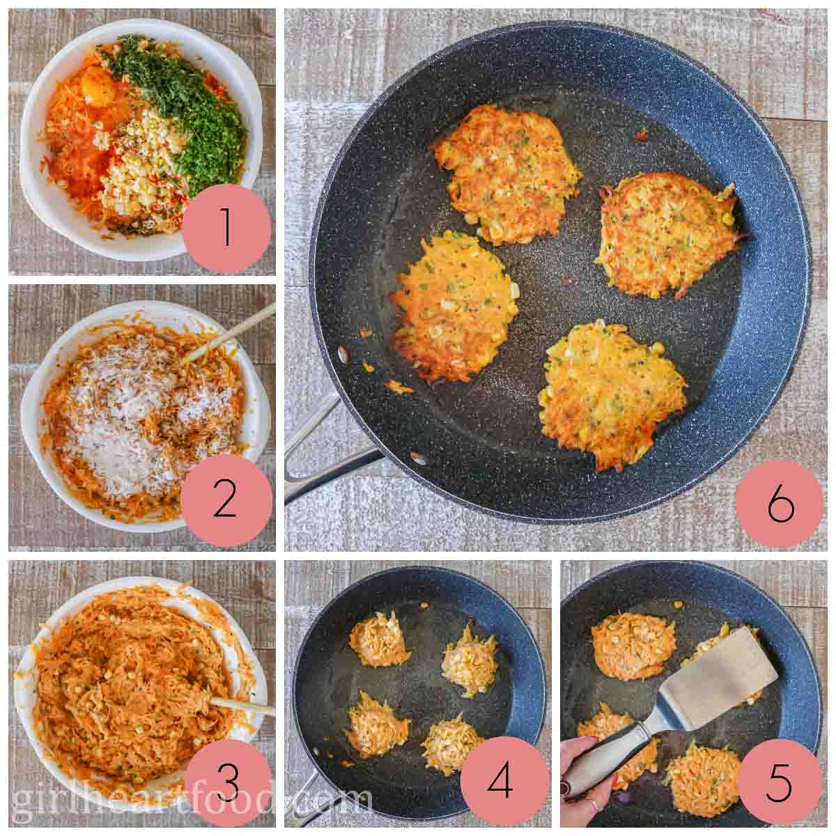 Collage of steps to make butternut squash fritters.