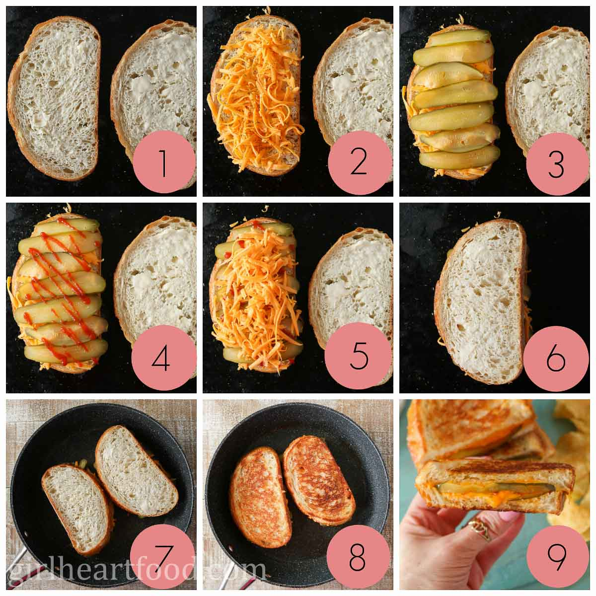 Collage of how to make a grilled cheese sandwich with pickle.