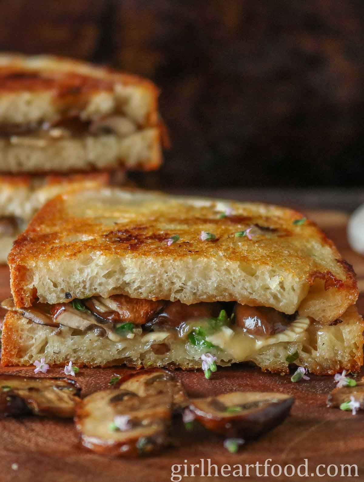 Half of a mushroom and brie grilled cheese sandwich.