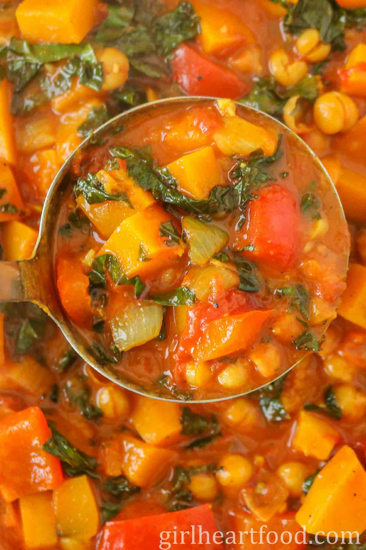 Ladle of butternut squash chickpea curry.