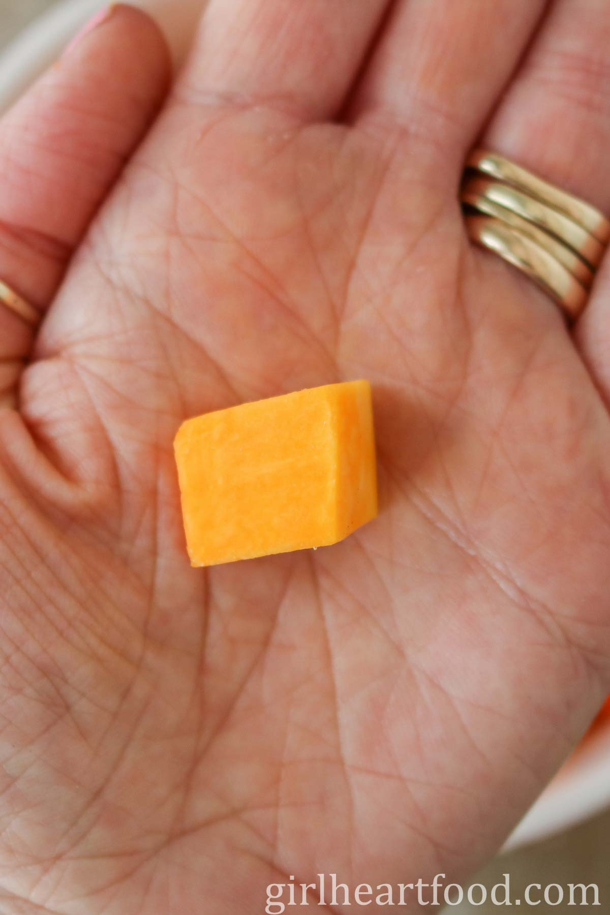 Hand holding a cube of uncooked butternut squash.