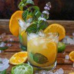 Orange mojito garnished with fresh mint and orange, alongside slices of lime, orange and ice.
