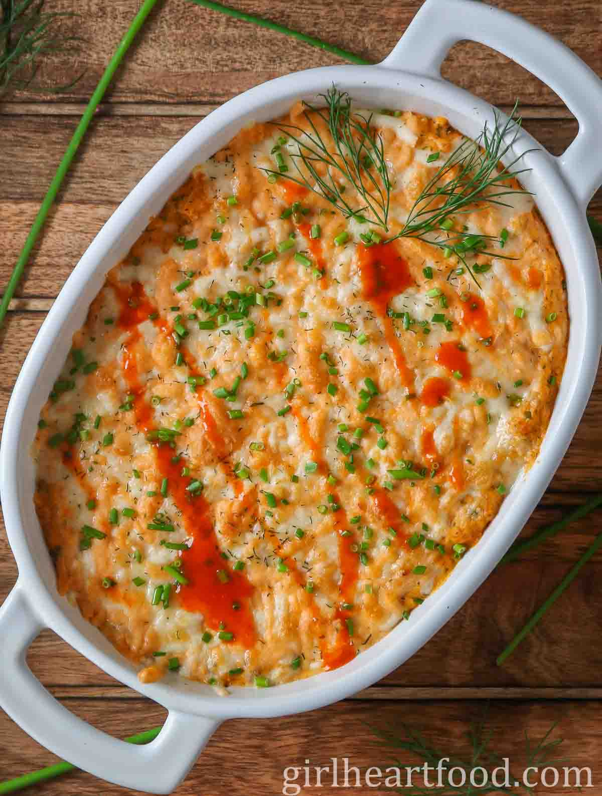 White oval dish of meatless buffalo dip.
