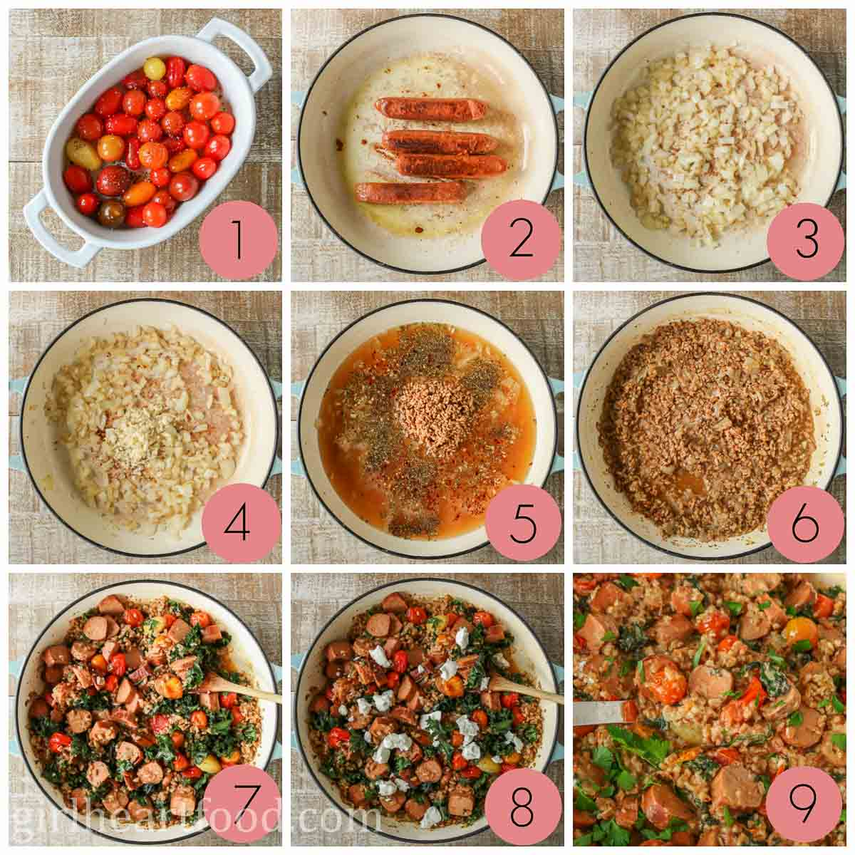 Collage of steps to make a farro sausage recipe with vegetables and goat cheese.