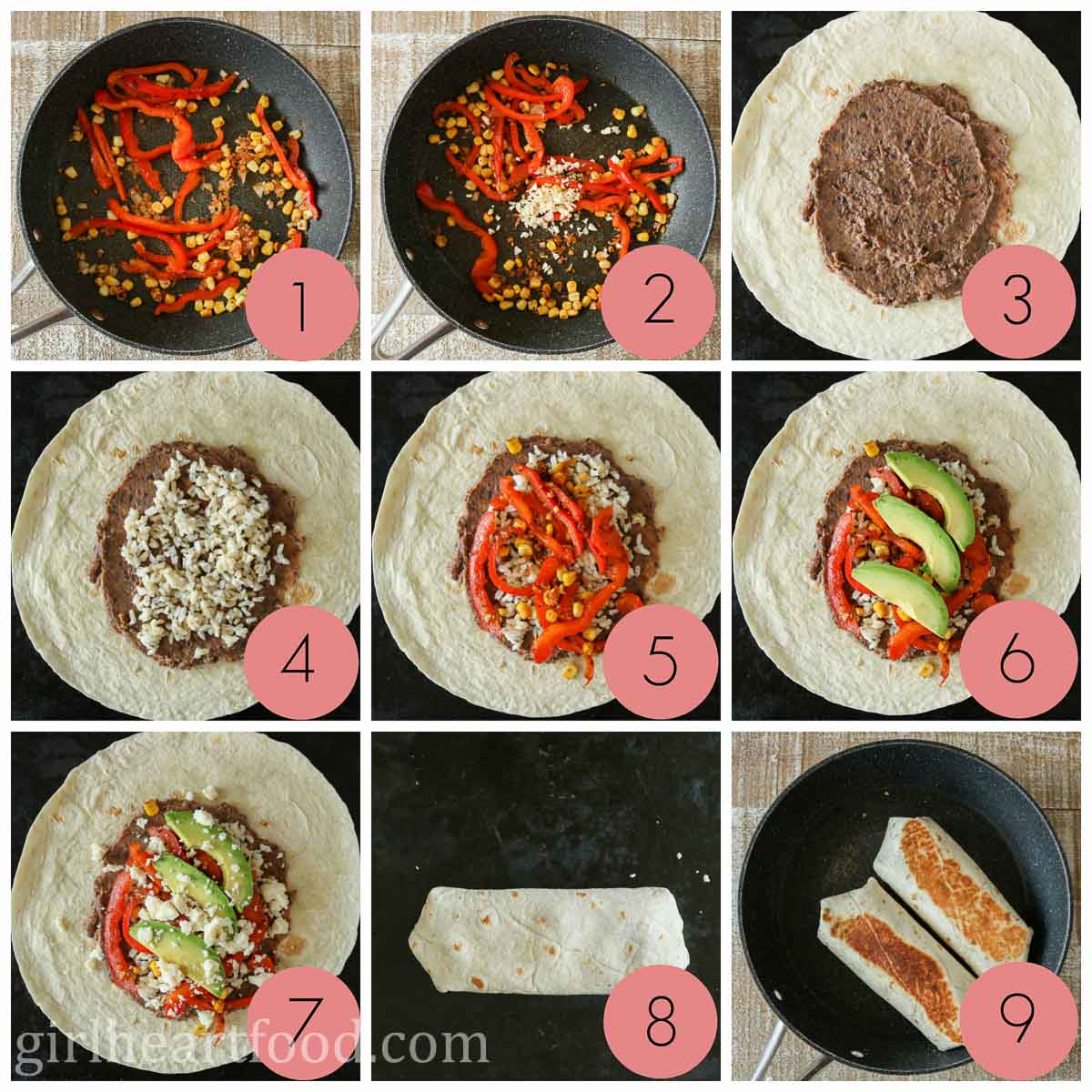 Collage of how to make a vegetarian burrito with refried beans, veggies, avocado and cheese.