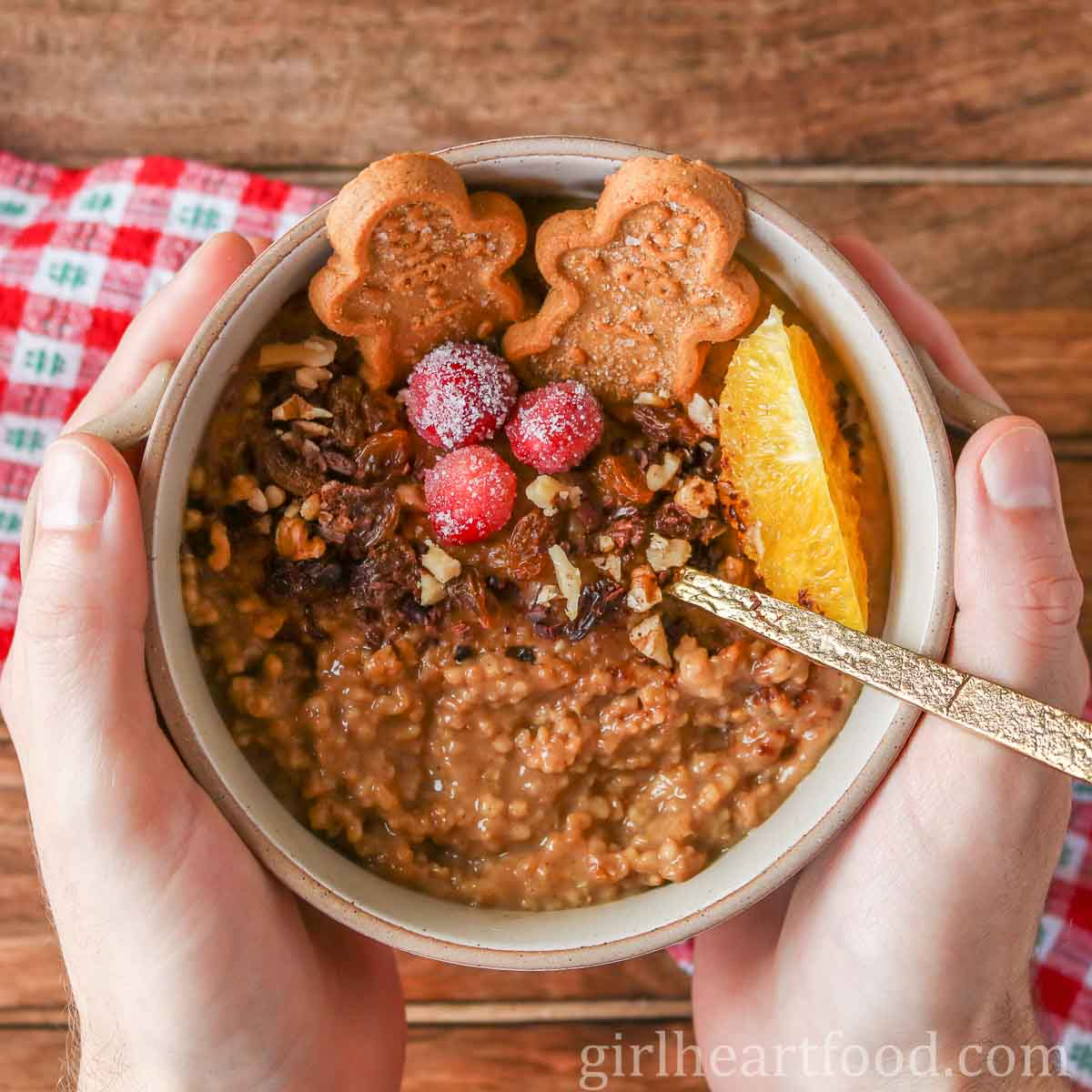 Someone holding up a festive bowl of gingerbread steel-cut oats.