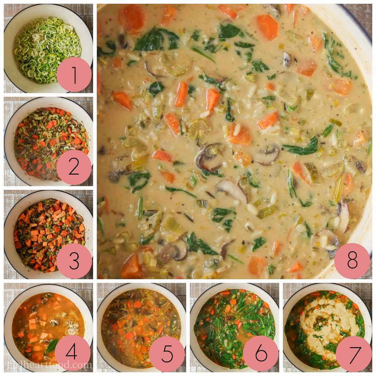 Collage of steps to make vegetable wild rice soup.