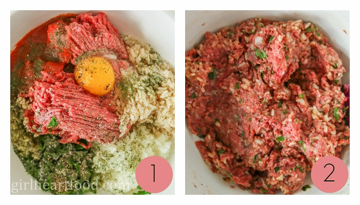 Collage of steps to make the ground meat filling for a stuffed cabbage roll recipe.