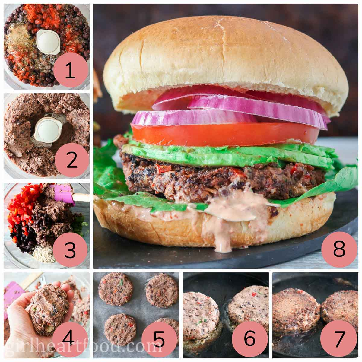 Collage of steps to make black bean burgers.