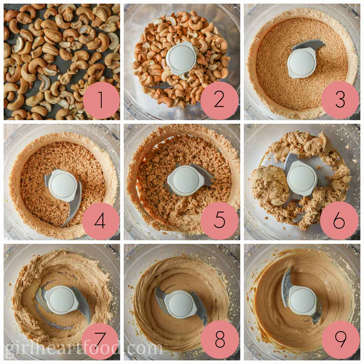 Collage of steps to make a homemade cashew butter recipe.