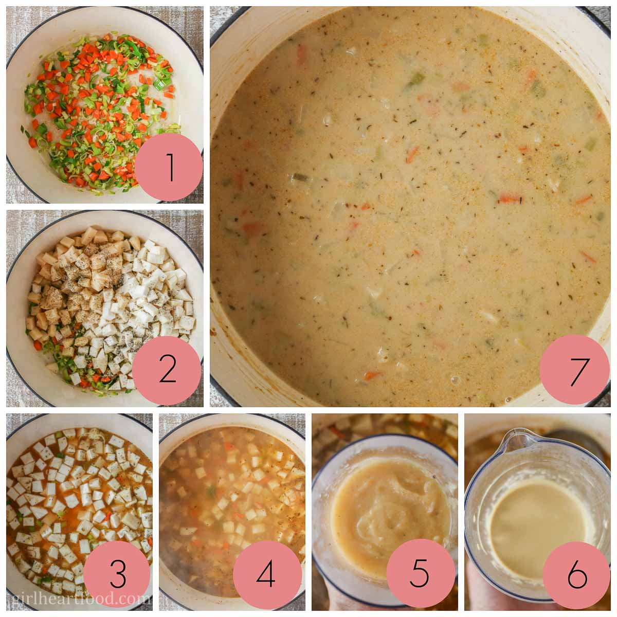 Collage of steps to make celery root soup.