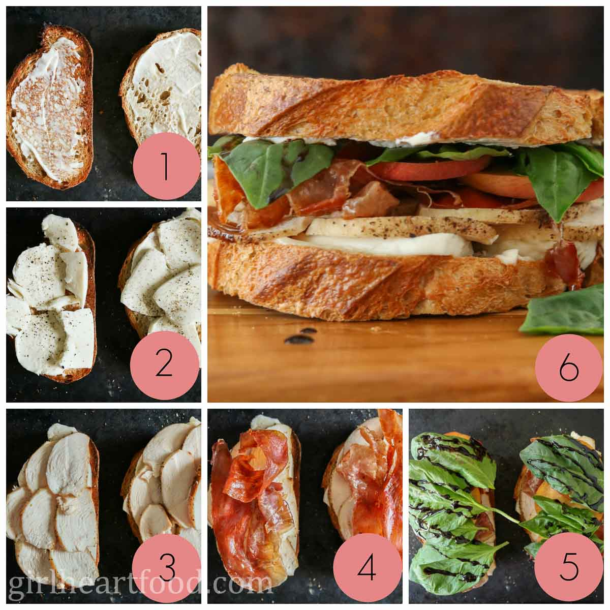 Collage of steps to make a chicken and prosciutto sandwich.