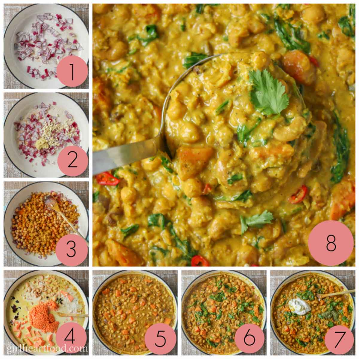 Collage of steps to make chickpea lentil curry with coconut milk and vegetables.