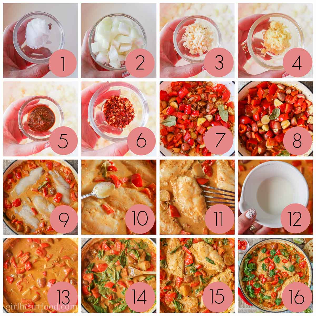Collage of steps to make fish curry with coconut milk and vegetables.