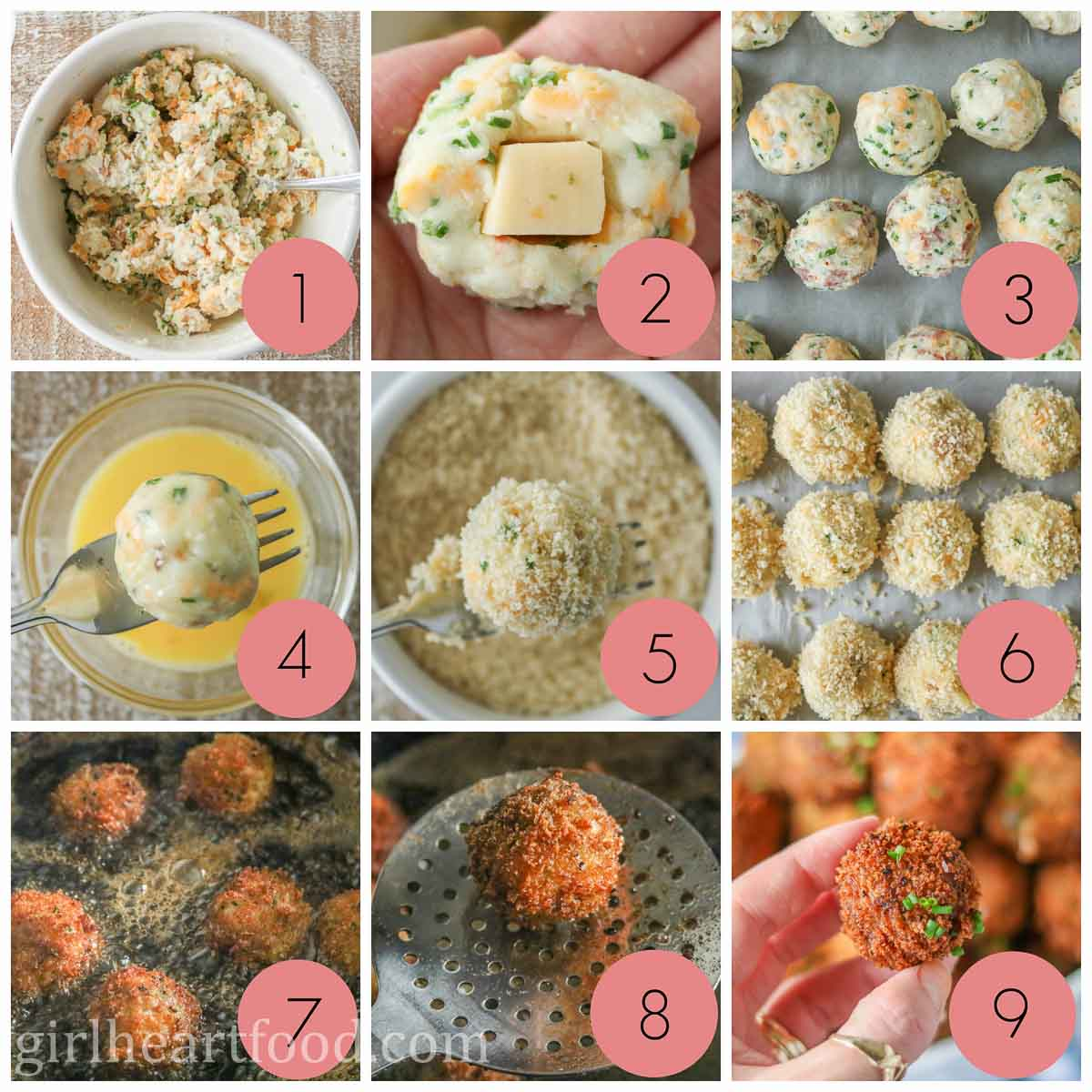 Collage of steps to make cheese-stuffed fried mashed potato balls.