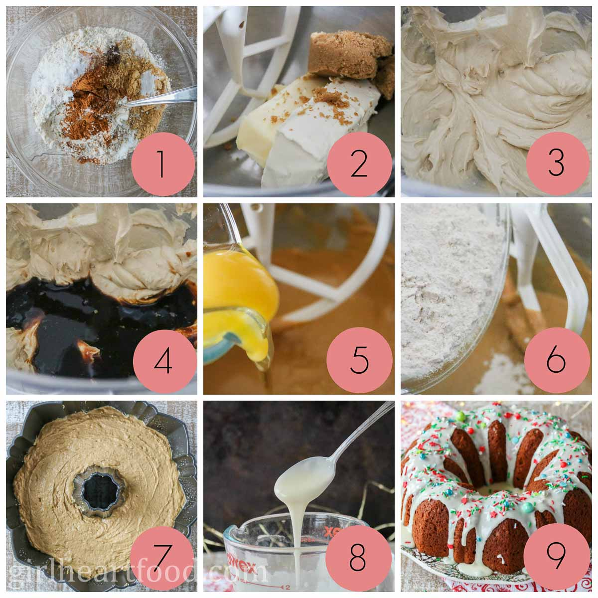 Collage of steps to make a glazed gingerbread cake.