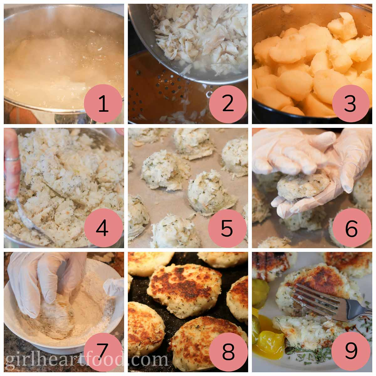 Collage of steps to make salt cod fish cakes.