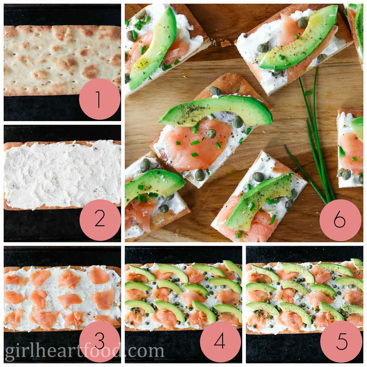 Collage of steps to make a smoked salmon and avocado flatbread appetizer.