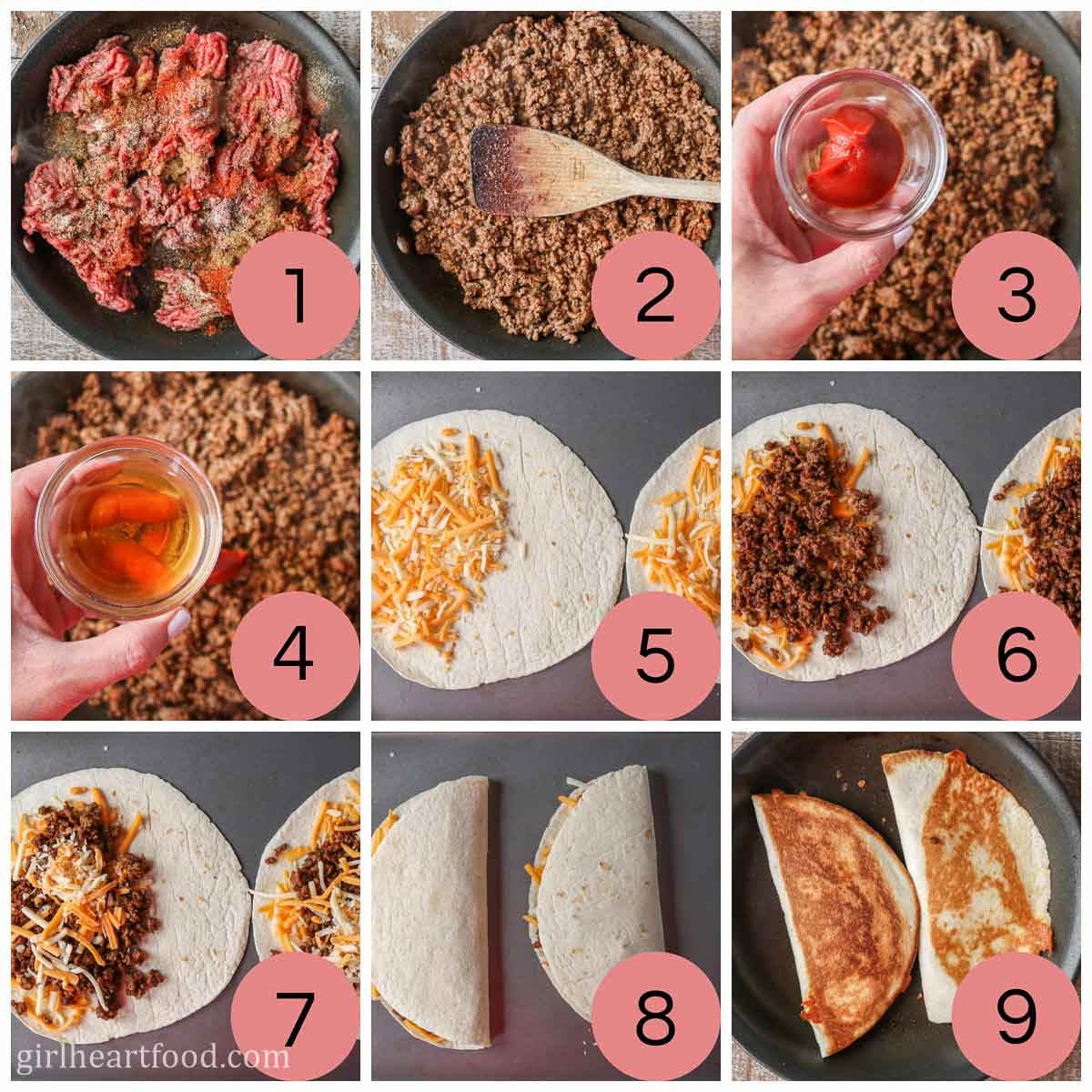 Collage of steps to make ground beef quesadillas with cheese.