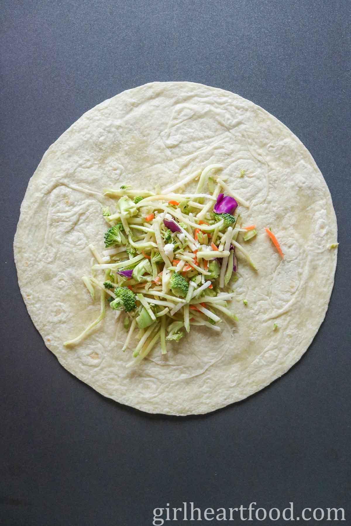 Salad mix on a tortilla.