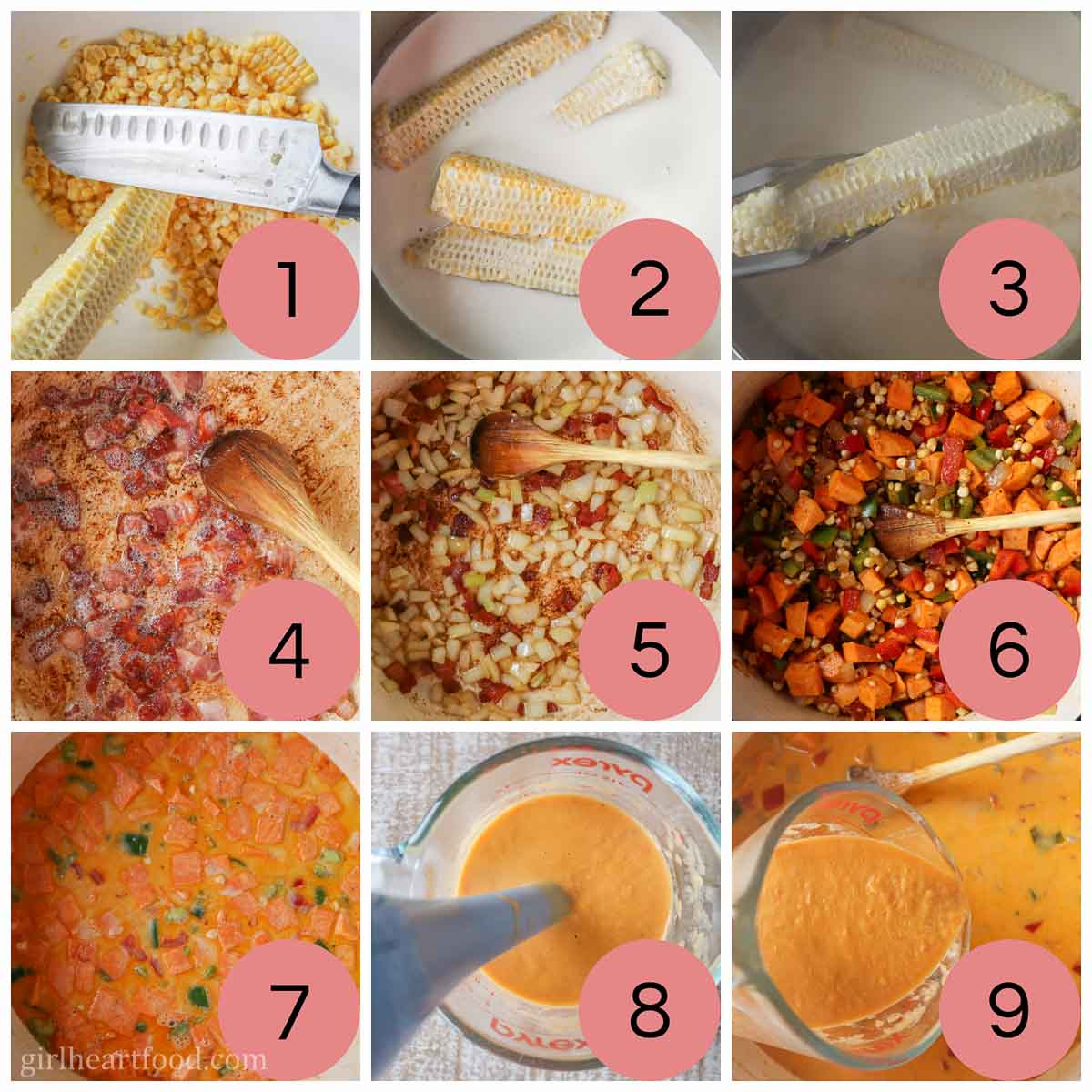 Collage of steps to make corn soup with bacon.