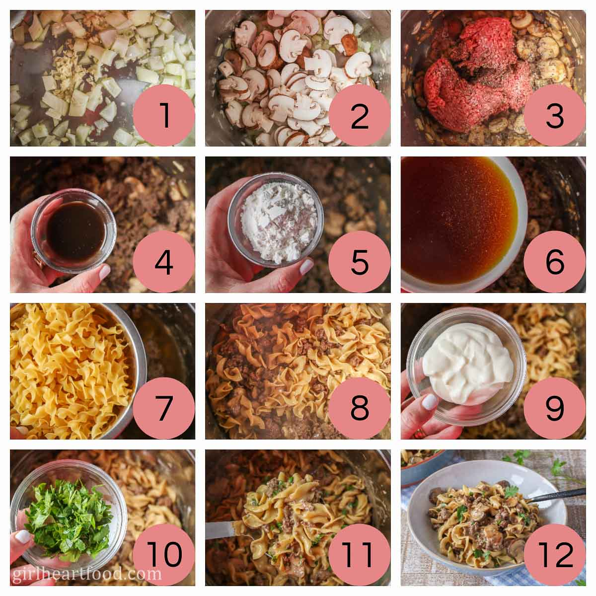 Collage of steps to make a ground beef stroganoff recipe.