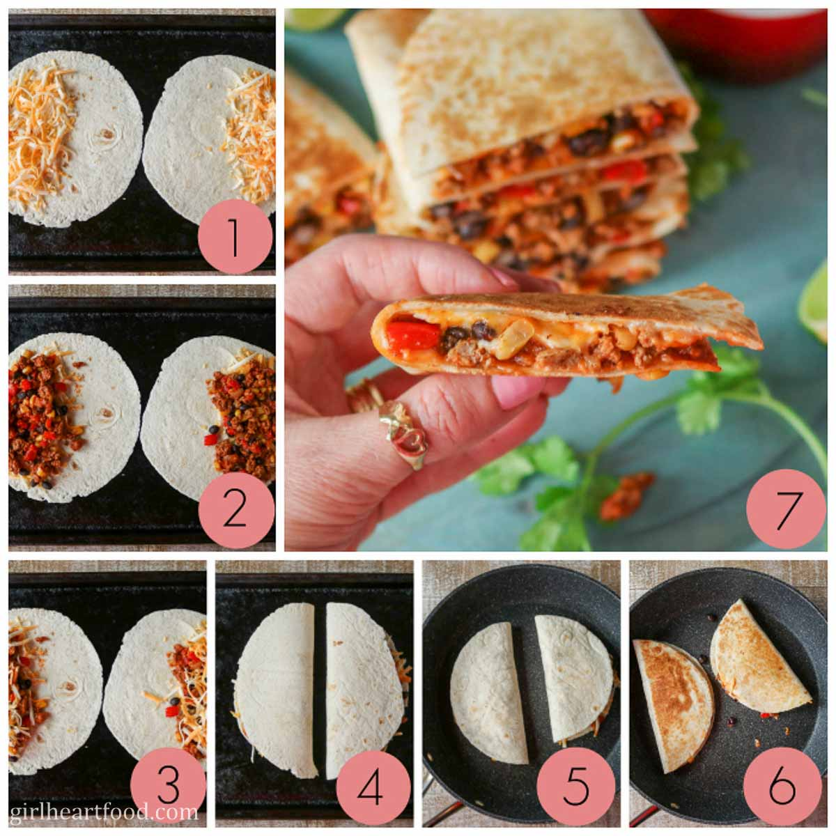 Collage of steps to make a ground turkey quesadilla recipe.