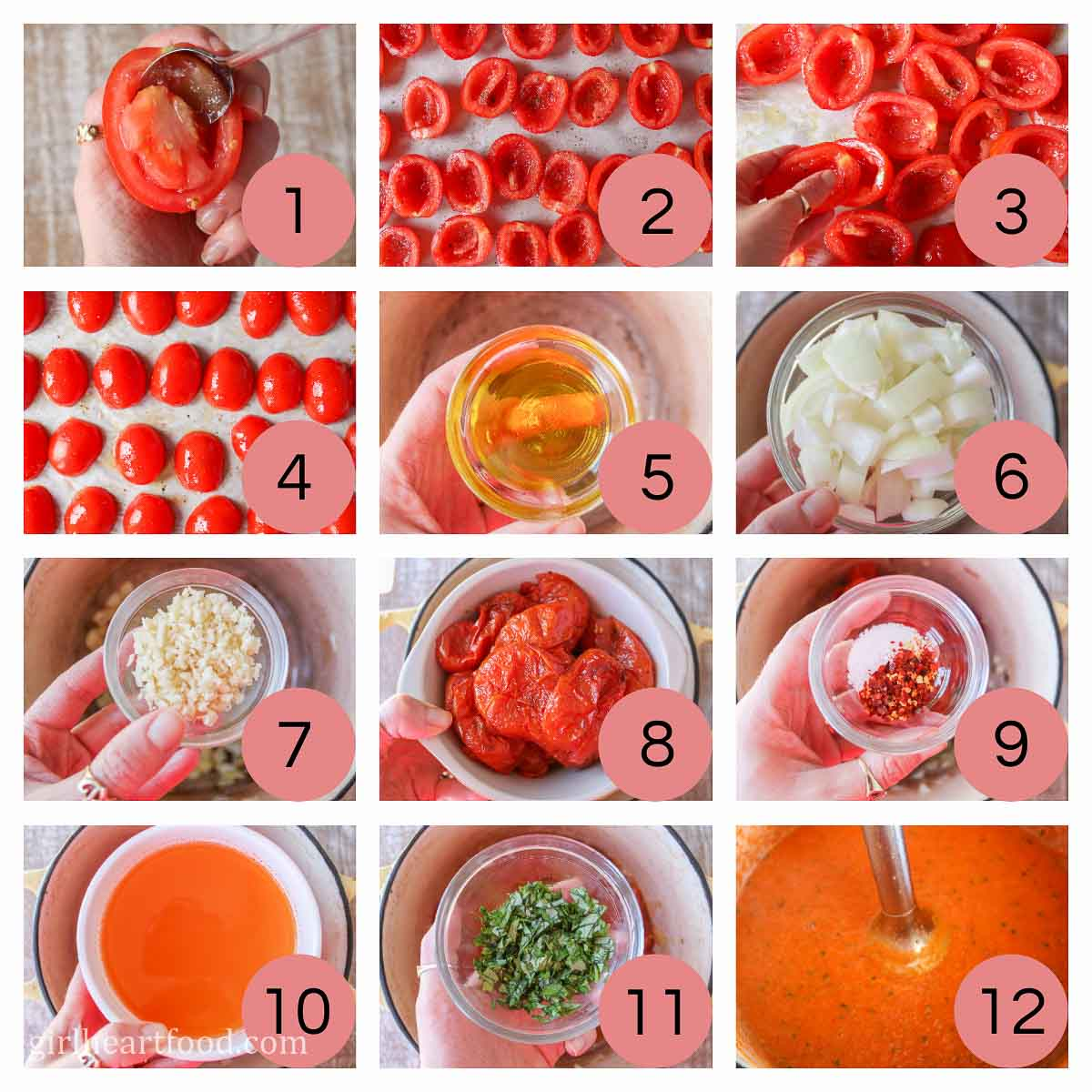 Collage of steps to make homemade tomato soup with fresh tomatoes.
