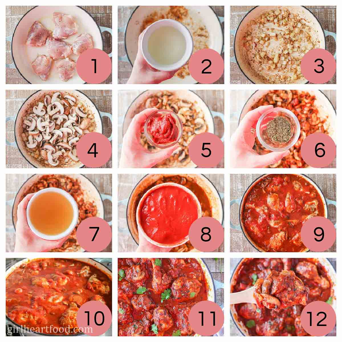 Collage of steps to make hunter's chicken.