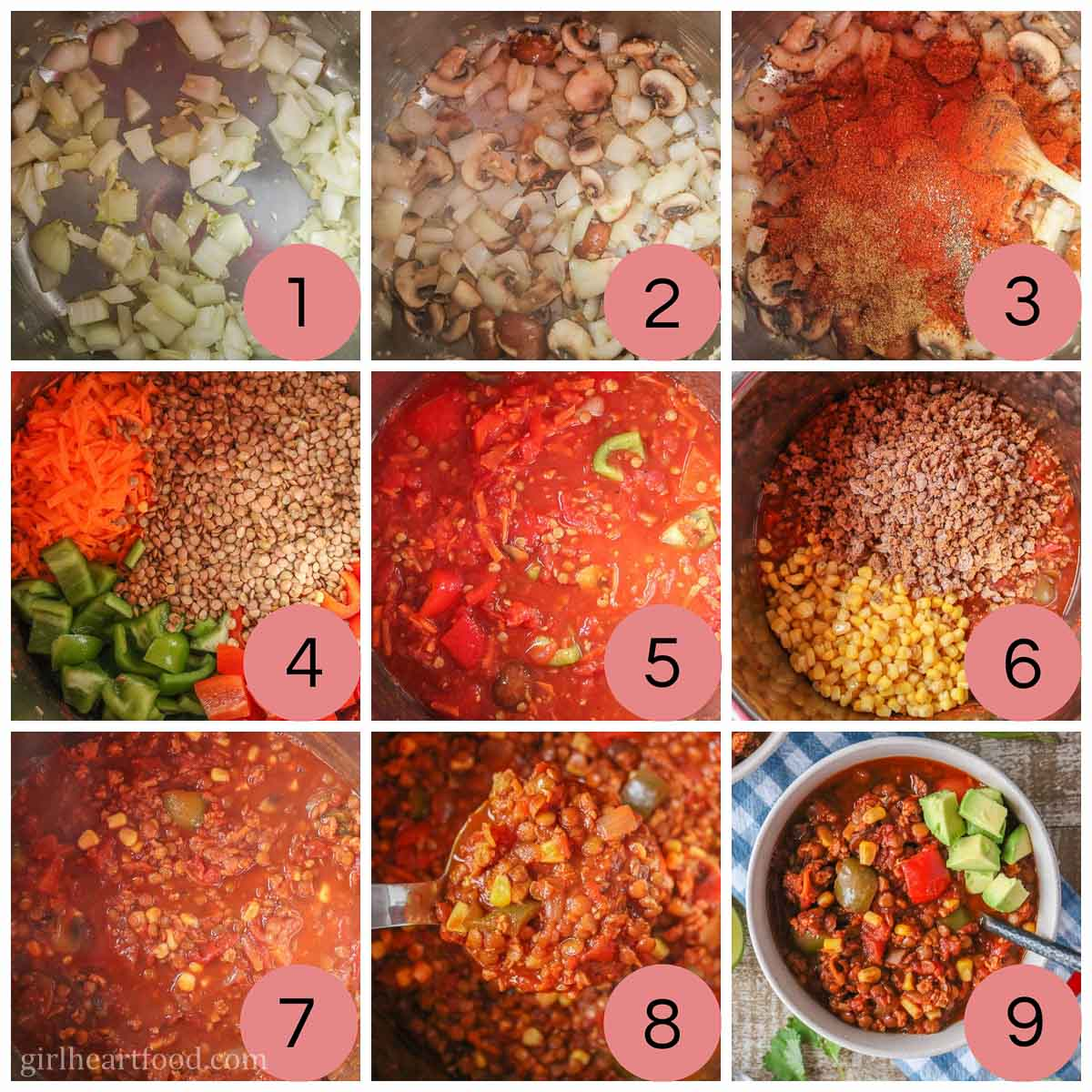 Collage of steps to make a lentil chili recipe.