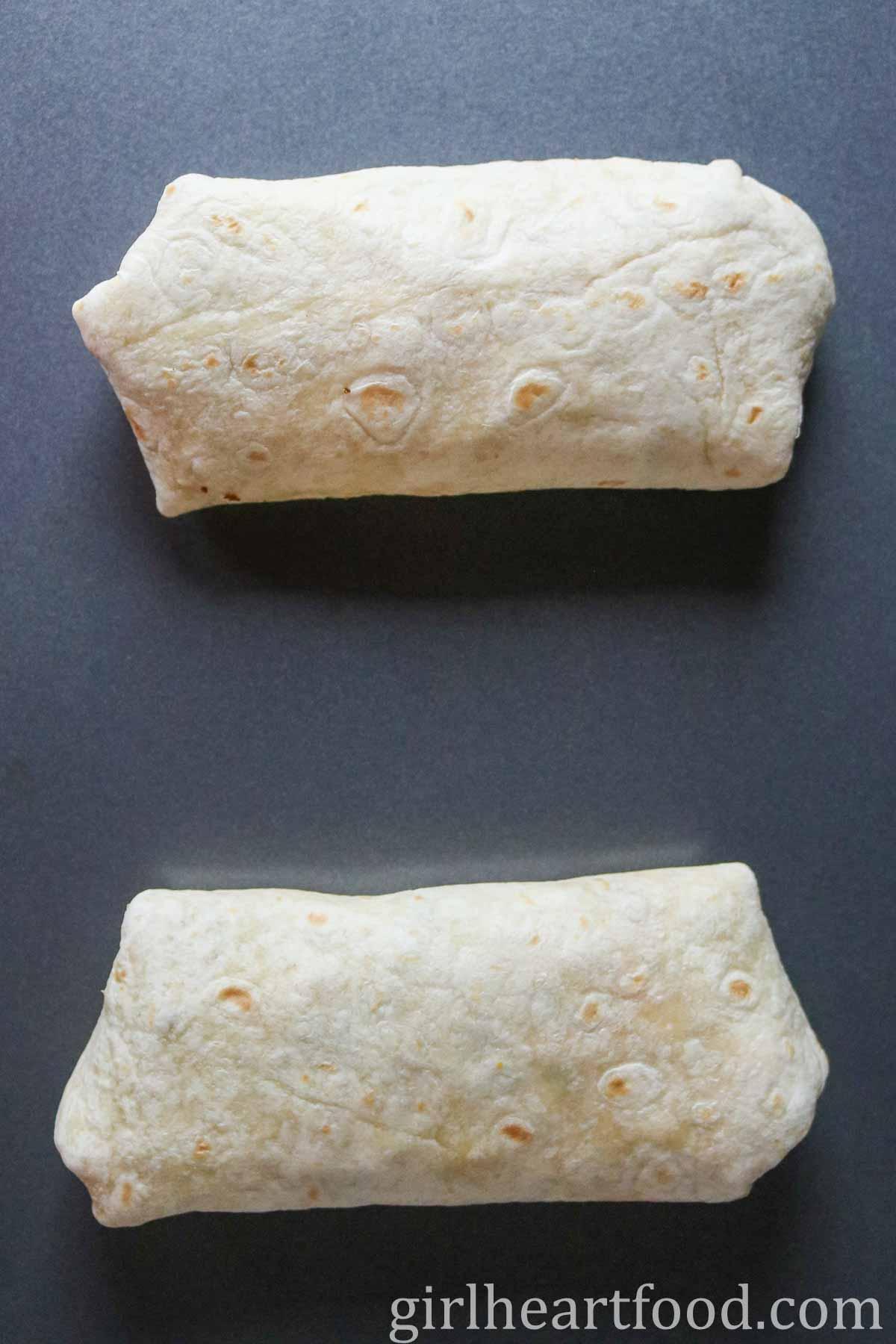 Two wraps on a sheet pan.