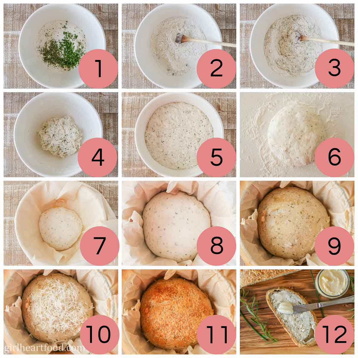 Collage of steps to make rosemary Parmesan Dutch oven bread.
