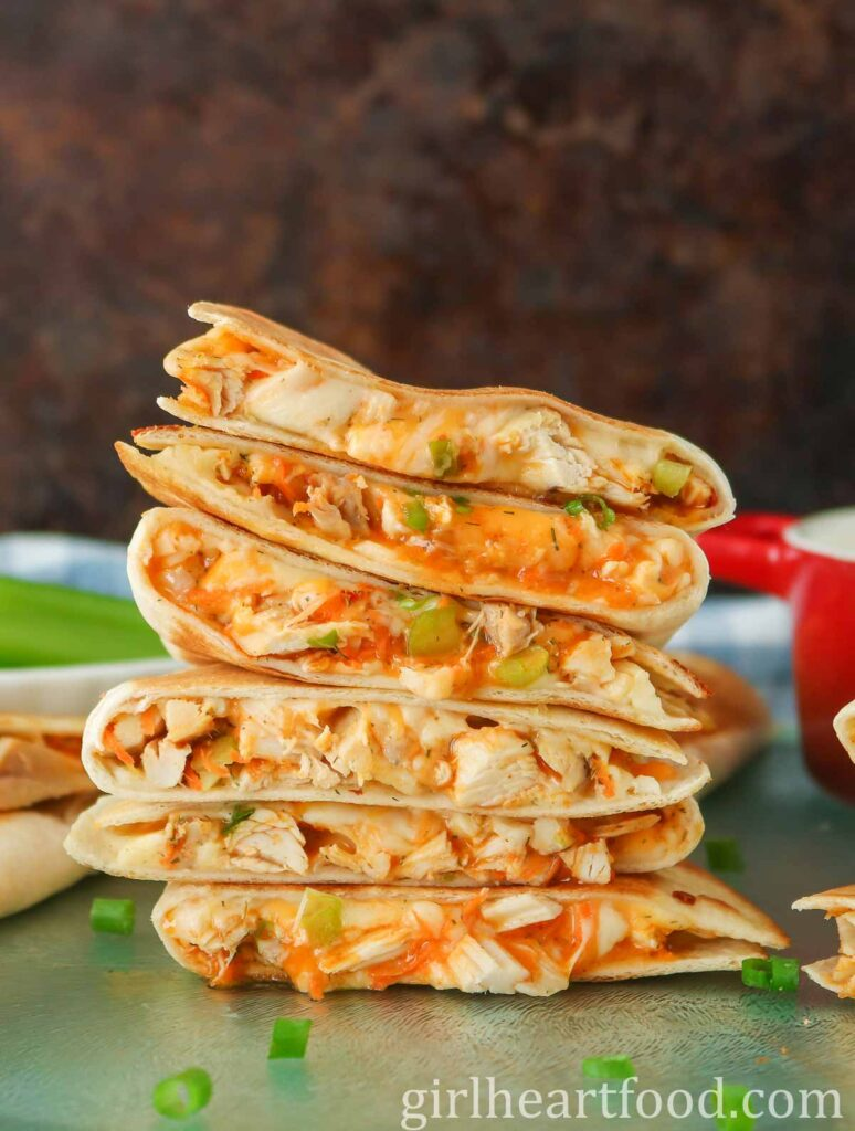 Stack of 6 buffalo chicken quesadillas.