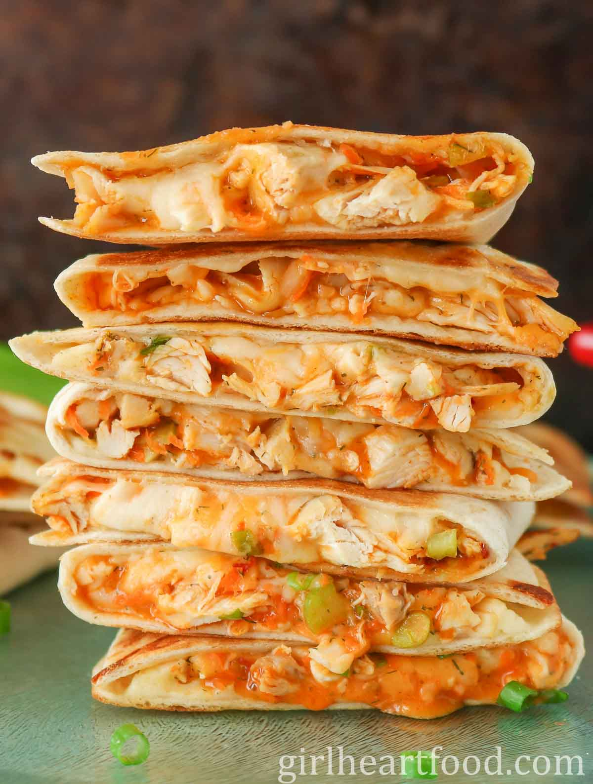 Tall stack of buffalo chicken quesadillas.